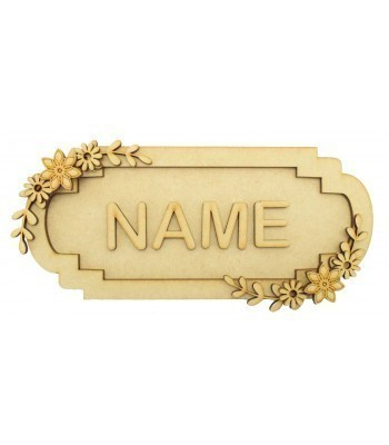 Laser Cut Personalised 3D Fancy Street Sign - Flower Themed - Size Options
